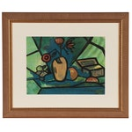 Modernist Still Life Casein Painting Attributed to Leroy Ebert