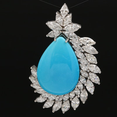 18K Turquoise Cabochon and 11.26 CTW Diamond Pendant