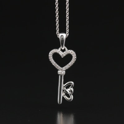Sterling Silver Diamond Heart Key Pendant Necklace
