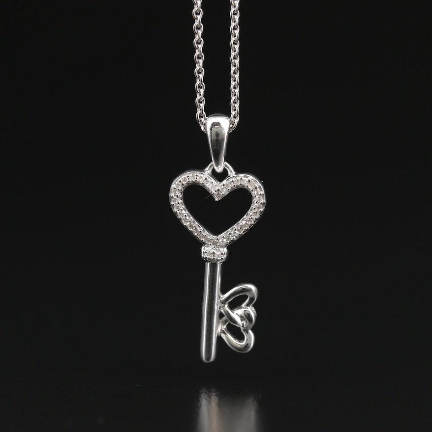 Sterling Silver Diamond Heart Key Pendant Necklace