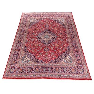 9'8 x 13'2 Hand-Knotted Persian Mashad Room-Size Rug, 1970s