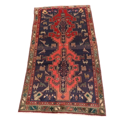 4'6 x 9'3 Hand-Knotted Northwest Persian Pictorial Long Rug, 1960s