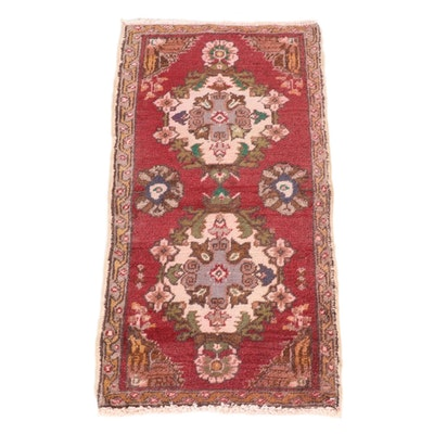 1'8 x 3'2 Hand-Knotted Turkish Village Rug, 1960s