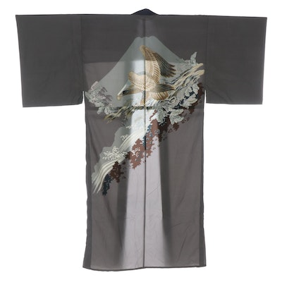 Men's Grey and Blue Silk Crepe Kimono with Hand-Painted Eagle Design