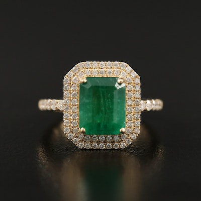 14K Rectangular Emerald and Diamond Double Halo Ring