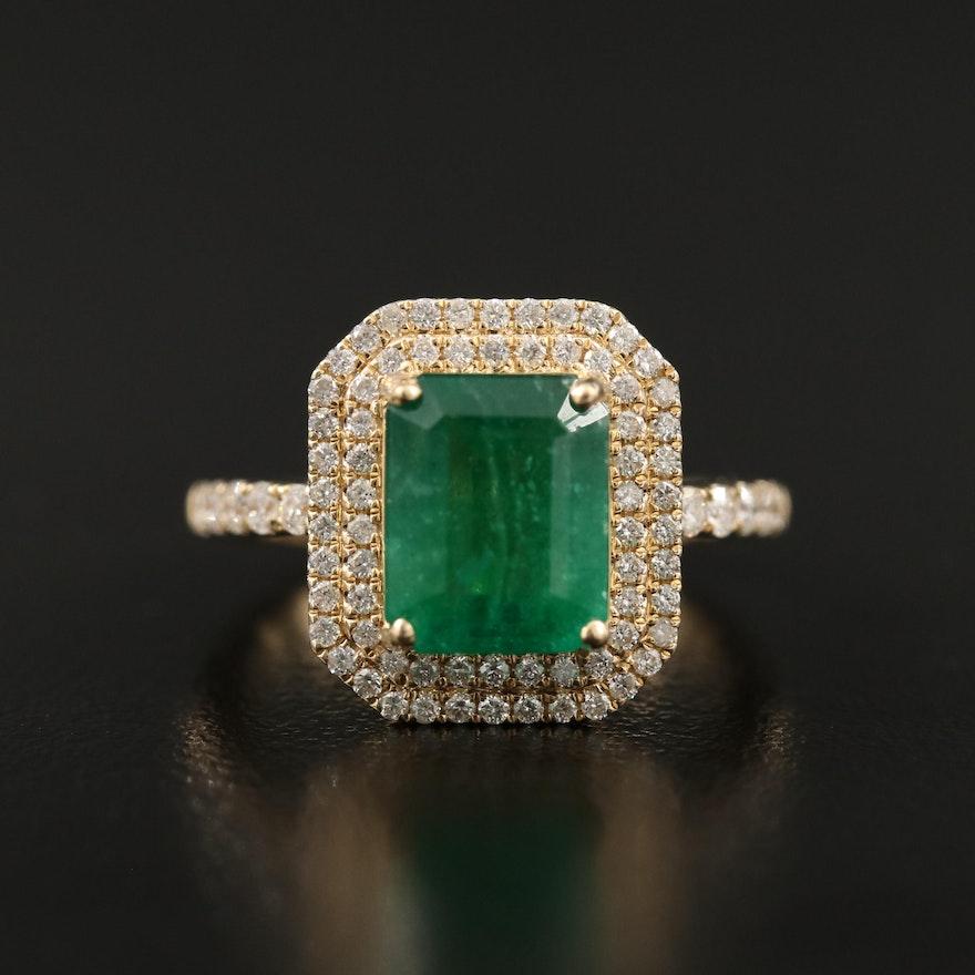 14K Rectangular Emerald and Diamond Double Halo Ring