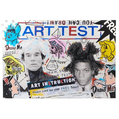 "John Stango Pop Art Acrylic Painting of Andy Warhol and Basquiat ""Art Test"""