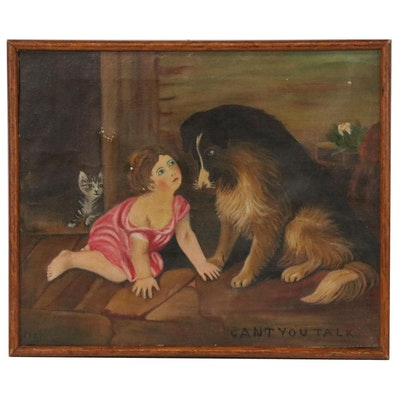 "Naive Oil Painting of Girl with Dog ""Can't You Talk"", 1927"