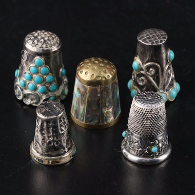Sterling Silver, Brass, Turquoise Colored Stone, and Abalone Thimbles