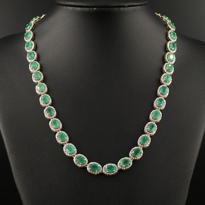 Sterling Silver Emerald and Diamond Rivière Necklace