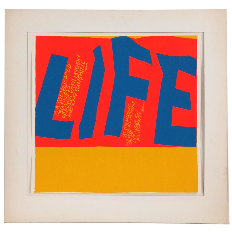 "Sister Mary Corita Kent Serigraph ""Life is a Complicated Business"""