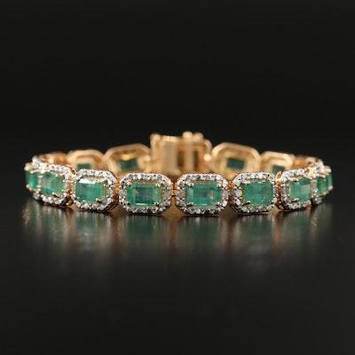 Sterling Silver Emerald and Diamond Link Bracelet
