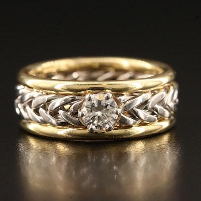 18K and Platinum 0.48 CT Diamond Solitaire Braided Band