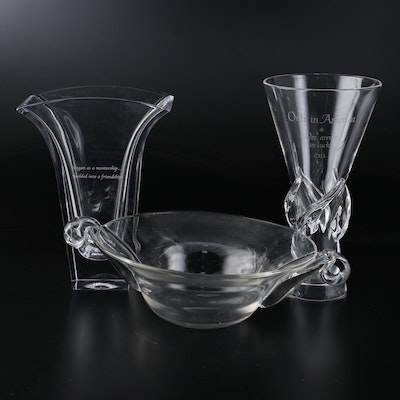 Steuben and Nambé Crystal Vases and Scroll Handled Glass Bowl