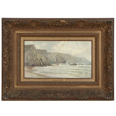 William T. Richards Seascape Oil Painting of Rocky Coast