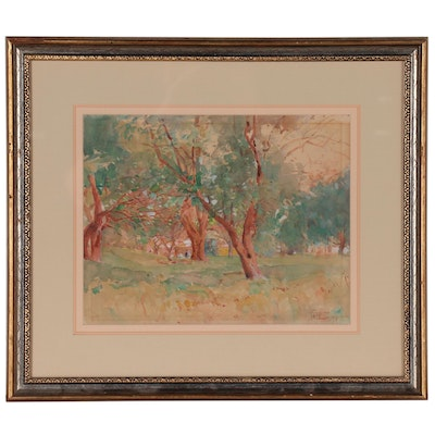 William J. Forsyth Watercolor Painting Grove Landscape with Figures, 1909
