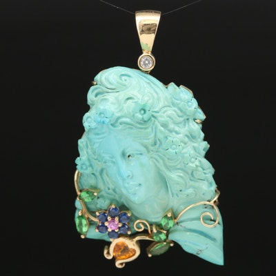 Signed 14K Turquoise, Diamond, Sapphire and Tsavorite Figural Pendant