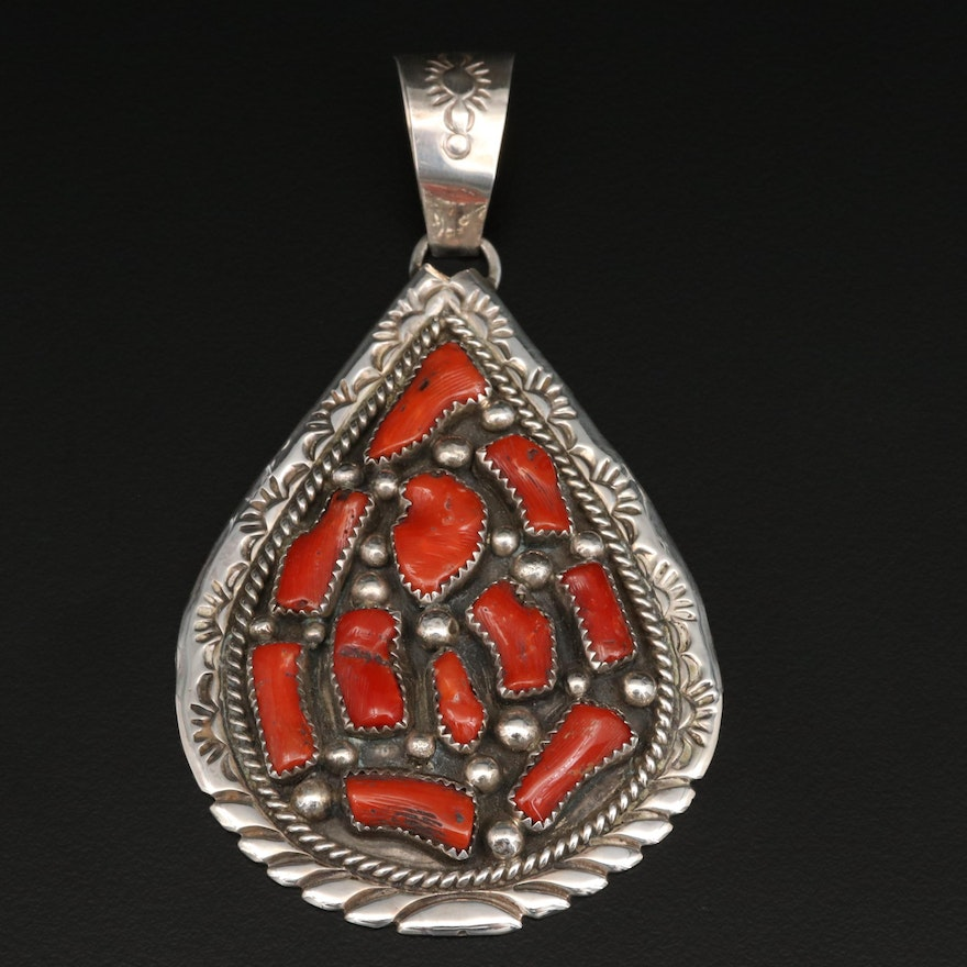 Signed Western Sterling Silver Coral Pendant with Stampwork Designs