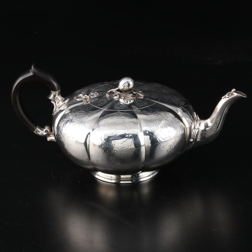 George Ivory of London Sterling Silver Pumpkin-Shaped Teapot, 1853