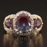 10K Alexandrite and Diamond Ring