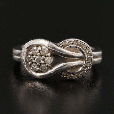 Sterling Silver Diamond Ring Featuring Interlocked Motif