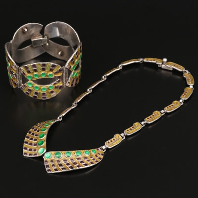 """Margot de Taxco """"Jeweled Circles and Squares"""" Necklace and Bracelet Set"""
