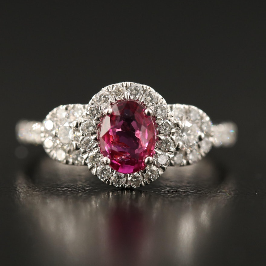 Platinum 1.03 CT Ruby and Diamond Ring with GIA Report