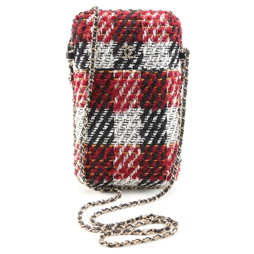 Chanel Tweed and Ribbon Chain Around Phone Holder Crossbody Bag