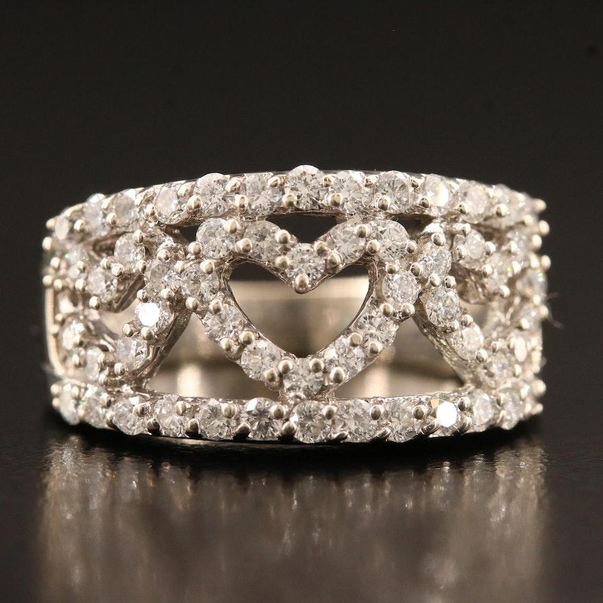 14K 1.25 CTW Diamond Triple Heart Ring