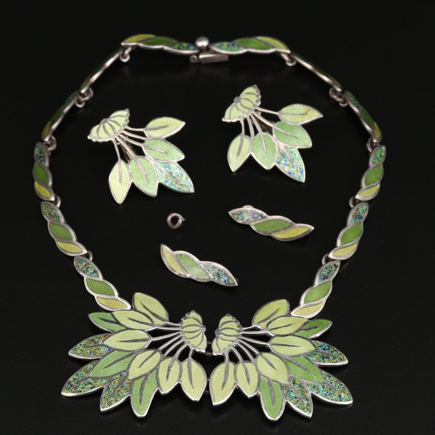 "1950s Margot de Taxco ""Leaf Spray"" Necklace and Clip Earring Set"