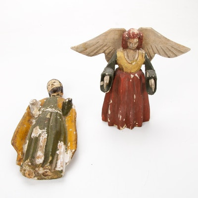 Polychrome Wooden Sculptures of a Saint and Angel