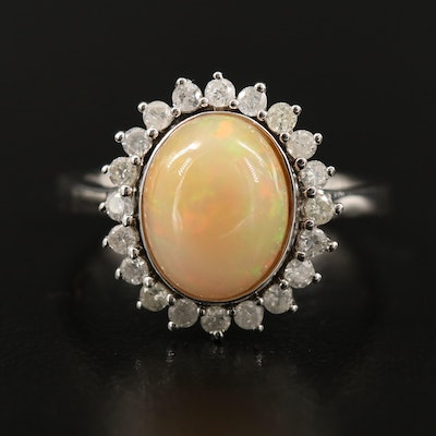 Sterling Oval Opal Cabochon and Diamond Halo Ring