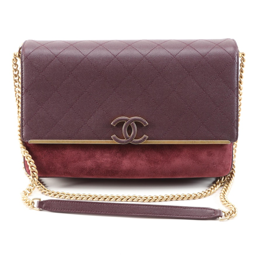 Chanel Lady Coco Large Flap Bag in Burgundy Quilted Caviar Leather and Suede