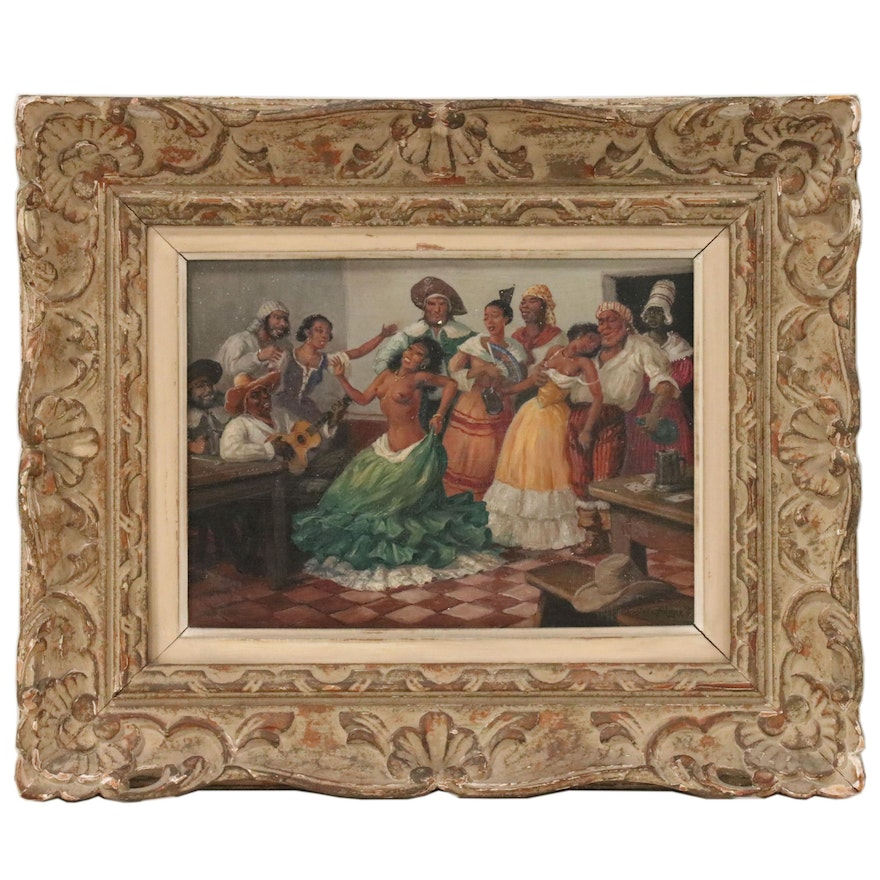 Gustave Alaux Tavern Scene with Dancing Woman Oil Painting,Mid 20th Century