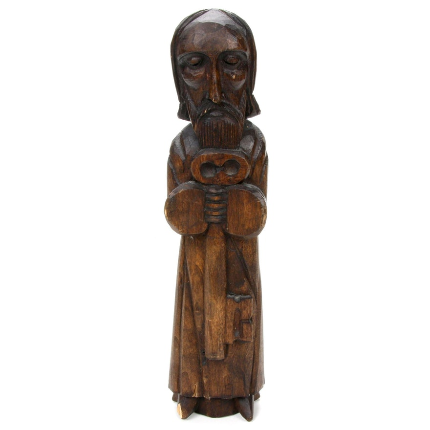 Carved Wood Sculpture of St. Peter