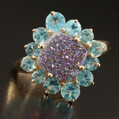 10K Druzy and Apatite Ring