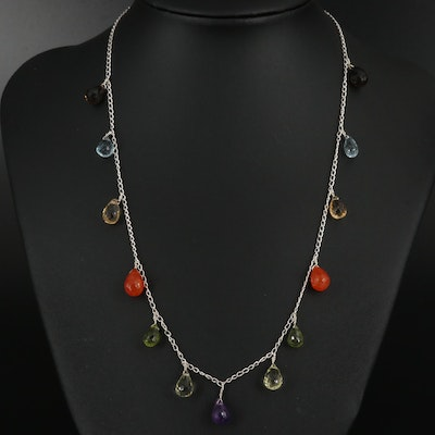 Sterling Silver Fringe Necklace with Amethyst, Citrine and Topaz