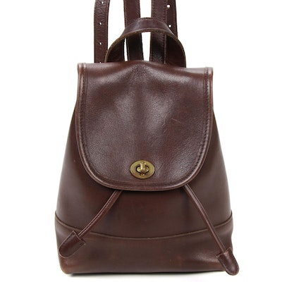 Coach Drawstring Backpack Purse in Brown Leather