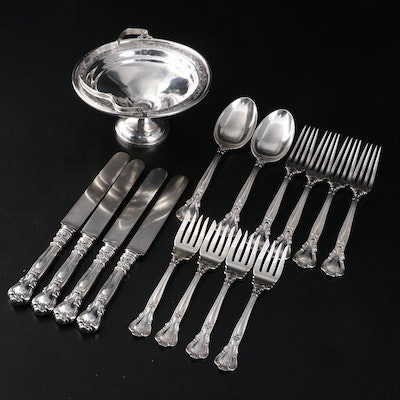 Gorham Sterling Silver Flatware and Hamilton Weighted Sterling Silver Compote