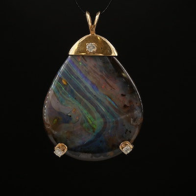 14K Modified Pear Boulder Opal and Diamond Pendant