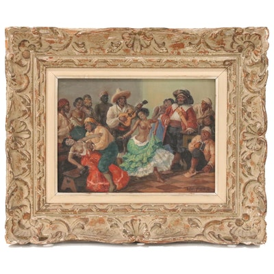 Gustave Alaux Tavern Scene with Dancing Figures Oil Painting, Mid 20th Century