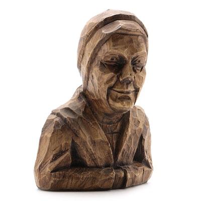 Folk Art Carved Wood Bust of Woman