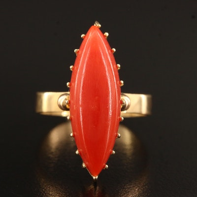 18K Coral Navette Ring