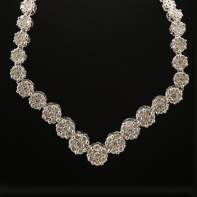 14K Cluster Set 3.38 CTW Diamond Chevron Necklace