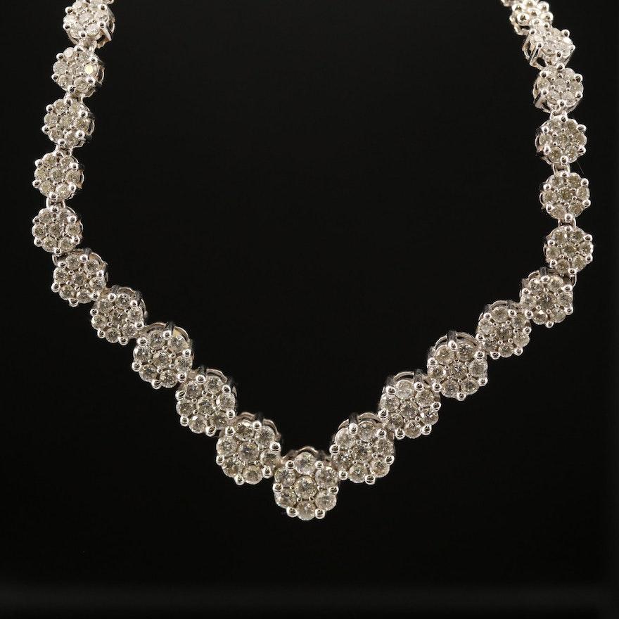 14K Cluster Set 3.38 CTW Diamond Chevron Necklace