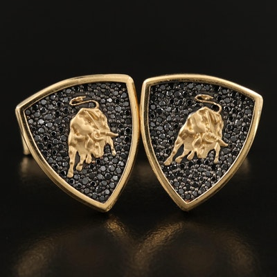 Lamborghini Inspired 18K 1.36 CTW Black Diamond Bull Cufflinks