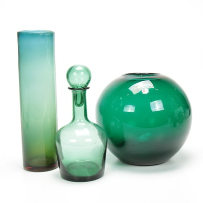Blenko Art Glass Vases and Decanter
