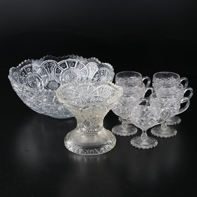 "1914 Imperial Glass ""Broken Arches"" Punch Bowl with Stand, 7 Pressed Glass Cups"