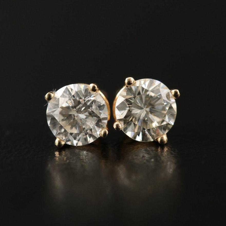 14K 1.51 CTW Diamond Stud Earrings