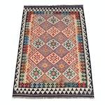 4' x 5'11 Handwoven Turkish Caucasian Kazak Kilim Rug